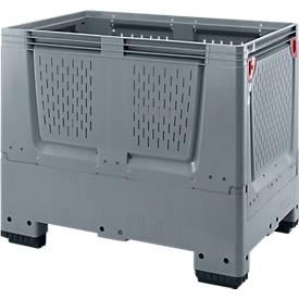 Caja-palet Big Box con ranuras de ventilación, plegable, plástico, 120 x 80 x 100cm