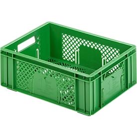 Caja para fruta y verdura norma europea, de calidad alimentaria, capacidad 11,9l, versión calada, verde