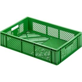 Caja para fruta y verdura norma europea, de calidad alimentaria, capacidad 24,87l, versión calada, verde