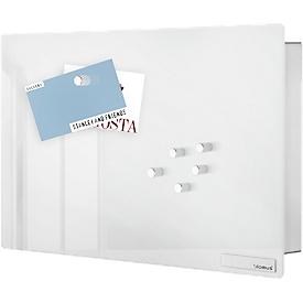 Caja para llaves VELIO, con tablero de vidrio magnético, acero inoxidable/vidrio, blanco, An 300 x P 50 x Al 200mm