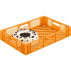 Caja para panadería norma europea, de calidad alimentaria, capacidad 15,4l, versión calada, amarillo anaranjado