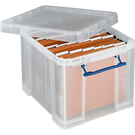 Caja, plástico, Juego Really useful Boxes, 35 l + 25 carpetas colgantes