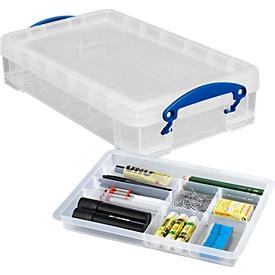 Caja, plástico, Juego Really useful Boxes, 4 l + inserción