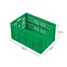 Caja plegable con dimensiones norma europea FK 643-61, sin tapa, 60l, verde
