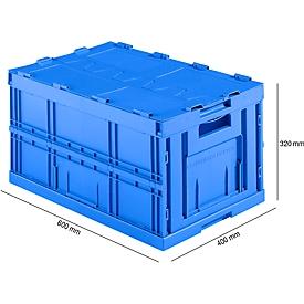 Caja plegable con dimensiones norma europea FK E-D-6320-2, con tapa, 64l, azul