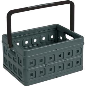 Caja plegable Sunware Square, capacidad 24l, con tirador, negro