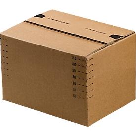 Cajas de cartón para envíos, fondo automático y tapa con solapa recerrable, hasta 20 kg, dimensiones interiores L 175 x W 105 x H 75 mm, cartón corrugado, marrón, 50 piezas