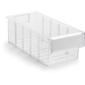 Cajón de almacenamiento serie 3015, transparente, L 300 x An 132 x Al 100mm, 2,5l