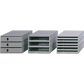 Cajón de escritorio Styro Styroval, para formatos hasta C4, 3 cajones abiertos, material reciclado, gris/gris