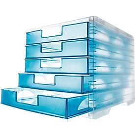 Cajón styro® styro-Light, 5 cajones, DIN C4, laguna transparente