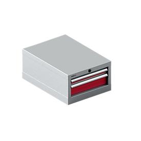 Cajonera Schäfer Shop Pure 18-27, 2 cajones (H 50/100mm), hasta 75 kg, A 411 x P 572 x H 250 mm, aluminio rojo rubí/blanco