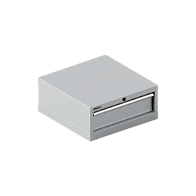 Cajonera Schäfer Shop Pure 27-27, 1 cajón, hasta 75 kg, ancho 564 x fondo 572 x alto 250 mm, aluminio blanco/aluminio blanco