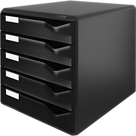Cajones de escritorio LEITZ®, 5 cajones, DIN A4, poliestireno, negro/negro