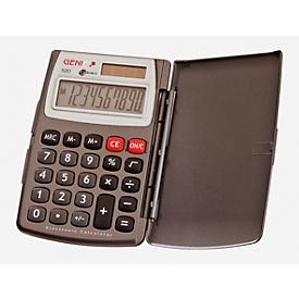 Calculadora de bolsillo Genie 520, pantalla de 10 dígitos, alimentado con pilas/solar y con tapa abatible