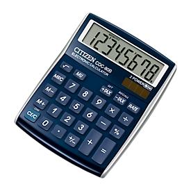 Calculadora de mesa Citizen CDC80, pantalla LCD de 8 dígitos, pila y solar, azul oscuro