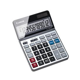 Calculadora de sobremesa Canon TS-1200TSC, pantalla LCD de 12 dígitos y plegable, con conversión de divisas, alimentación solar y a pilas, plástico y metal, plata