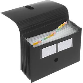 Carpeta con compartimentos FolderSys, 12 compartimentos, DIN A4, con cierre de velcro, negra