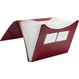 Carpeta de compartimentos FolderSys, 12 compartimentos, formato DIN A4, gomas de esquina, rojo