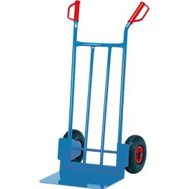 Carretilla de acero tubular con gran solapa, capacidad de carga de 250 kg, con ruedas de goma maciza, 17,5 kg
