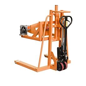 Carretilla elevadora de barriles BAUER FHR 600 F, acero, capacidad de giro 360°, para barriles de hasta 220 l, An 1125 x P 1200 x Al 1330mm, naranja