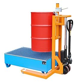 Carretilla elevadora de barriles BAUER FHR 600 G, acero, para barriles de hasta 220 l, An 1125 x P 1000 x Al 1330mm, naranja