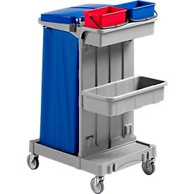 Carrito de limpieza Poly I, 2 cubos de 4l, 2 bandejas de almacenamiento, con bastidor de soporte para bolsa basura