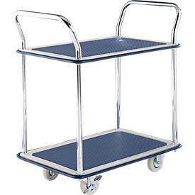 Carrito de transporte con mesa NB-104, 2 niveles, L 790 x An 480mm, hasta 120kg, azul, ruedas de goma maciza, acero cromado