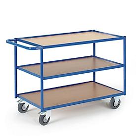 Carrito de transporte con mesa, superf. carga L 800 x An 500mm, 3 niveles