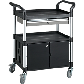 Carrito de transporte polivalente con 1 cajón y 1 armario, negro
