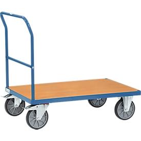 Carro con arco de empuje, acero/madera, azul-haya, hasta 600kg, An 1000 x P 700mm, ruedas TPE