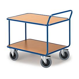 Carro con estantes, 2 estantes, hasta 500 kg, neumáticos TPE, acero con recubrimiento en polvo azul genciana RAL 5010, L 800 x A 500 mm