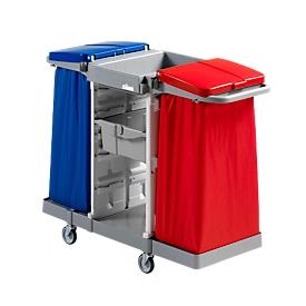 Carro de limpieza colector de residuos Duo, incl. 2 bandejas almacenamiento y 2 soportes de bolsas de basura