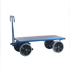 Carro manual de plataforma, sin laterales, 1200 x 800mm, goma maciza