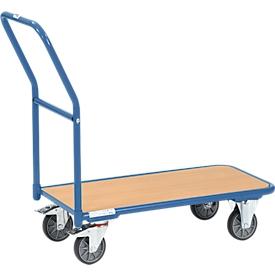 Carro para almacén, con plataforma de madera, L 850 x An 450mm, hasta 250kg, tubo de acero, azul