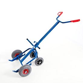 Carro para barril con 2 ruedas de soporte, ruedas neumáticas, para el transporte de barriles de chapa de acero de 200 l con borde