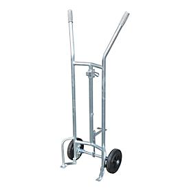 Carro para bidones FP-V, acero galvanizado, capacidad de carga de 350 kg, para bidones de acero de 200 l, neumáticos de goma maciza
