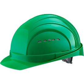 Casco de protección EuroGuard I/79 4-G, polietileno de alta presión, DIN EN 397, verde, con correas de 4 puntos, ventilación