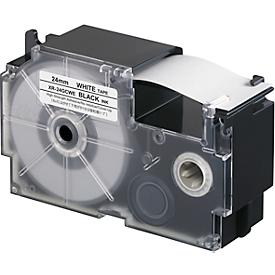 Casio belettingsband XR, breedte lint 24 mm, zwart op wit, L 8 m
