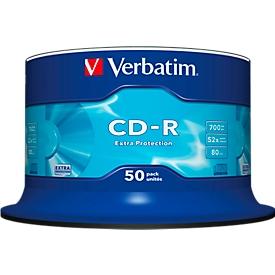 CD-R de Verbatim, hasta 52 veces, 700 MB/80 min, bobina de 50 paquetes