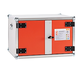 CEMO acculaadkast Basic, brandwerend F60, 4-voudige contactdoos 3500 W, stroomloos schakelen, rookmelder, ventilatie, slot, B 800 x D 660 x H 520 mm