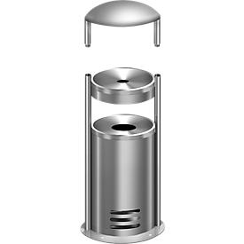 Cenicero/contenedor de basura de seguridad tec-art E + capucha de protección contra la intemperie, GRATIS