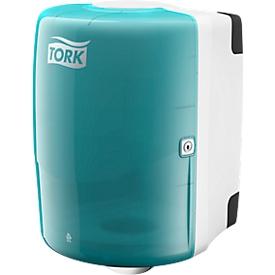Centerfeed dispenser voor grote rollen, turquoise/wit