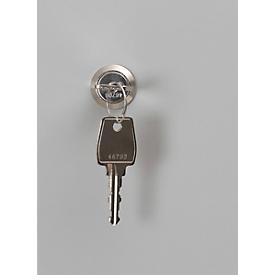 Cerradura de cilindro para casillero cubo, L 90 x An 70mm, incl. 2 llaves, acero