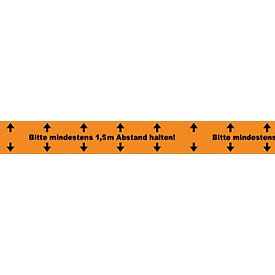 Cinta de señalización de suelos Mantener distancia mínima de 1,5 m, grosor 52μm, caucho natural, L 66 m x An 50mm, PVC, naranja, 6 uds.