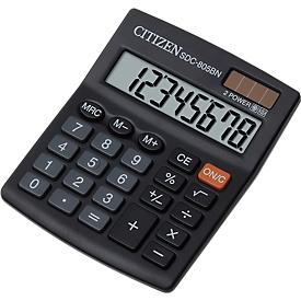 Citizen Taschenrechner SDC 805BN semi, 8-stellige LCD-Anzeige, Batterie und Solar