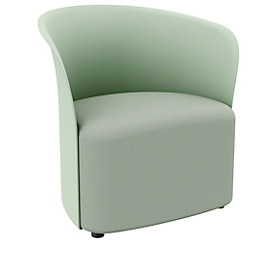 Clubsessel Paperflow CROWN, Schaumpolsterung, mit Füßen, Sitzhöhe 380 mm, B 730 x T 635 x H 690 mm, Polypropylen & Hartfaserplatte, Polsterbezug grün