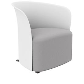 Clubsessel Paperflow CROWN, Schaumpolsterung, mit Füßen, Sitzhöhe 380 mm, B 730 x T 635 x H 690 mm, Polypropylen & Hartfaserplatte, Polsterbezug weiß