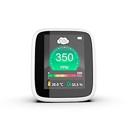 CO2 Messgerät REDFLEXX REDGUARD RG-1300, für den Innenbereich, Infrarotsensor, 350-5000 ppm, LC-Display mit Alarmsignal, IP30, Akkubetrieb, USB, weiß