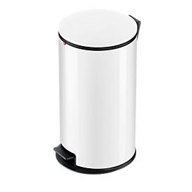 Colector de residuos con pedal Hailo Pure L, 25 l, mecanismos de cierre de tapa amortiguado, blanco