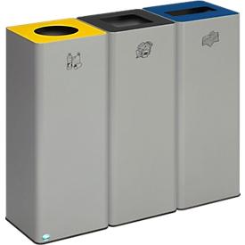 Colector de residuos reciclables VAR Quadro, 3 compartimentos, volumen total 243 l, incl. material de montaje, chapa de acero galvanizado